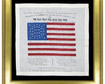 38 Star Antique Flag   The Flag that Will Make Cuba Free with an Unusual Medallion Pattern   Circa 1889