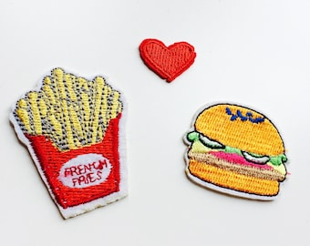 Patches | Patch | Set | Hipster | Trendy | Emo | DIY | Fashion | Burger | Fries | Cute | Kawaii | Fast Food | Retro