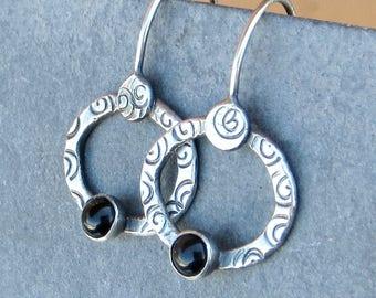 Black Onyx Earrings Artisan Earrings Hand Stamped Earrings Sterling Silver Jewelry Eco Friendly Jewelry Light Weight Earrings