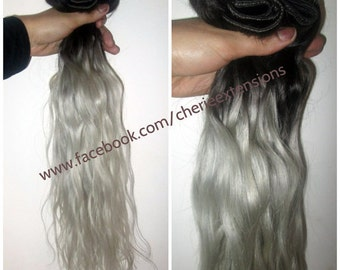 Sale Ombre Balayage Human Hair Extensions Full Head Weft 120g 1b Off Black Into Silver Grey White 22""