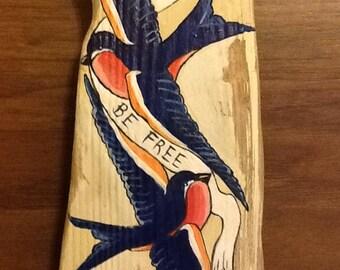 Tattoo art swallows