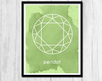Peridot Print Instant Download Gift for August Birthday Peridot Art Birthstone Art Birthstone Print Digital Download August Printable