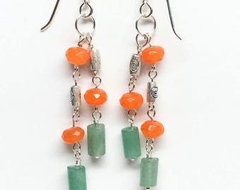 Green and Orange Earrings, Orange & Green Dangle Earrings, Green Aventurine and Orange Agate Earrings