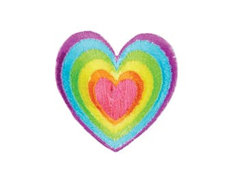 Rainbow Heart Iron On Applique, Rainbow Iron On Patch, Love Patch, Love Applique, Heart Applique, Heart Patch, Fun Patch, Embroidered Patch