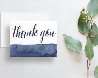 Instant Download Watercolor Calligraphy Thank You Cards / Dark Blue Deep Navy Watercolor / Digital Print-at-Home Thank You Card