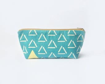Triangle Pencil Case, Retro Makeup Bag, Geometric Pencil Case, Back to School Supplies, Teacher's Gift, Bridesmaid's Gift, Gift for Her