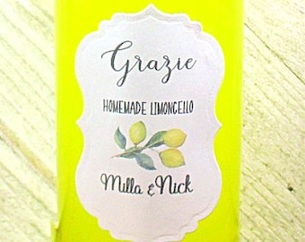 Limoncello Labels -  Set of 24 - Personalized - Handmade - Hand made - Grazie - Wedding Favor Stickers - Custom - Adhesive - Matt White