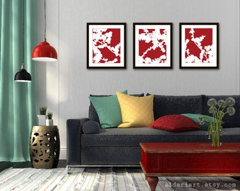 Cherry Blossom Art Prints - Set of 3 - Red and White - Nature Home Decor - Modern Spring Tree Wall Art - Spring Flowers Art Prints