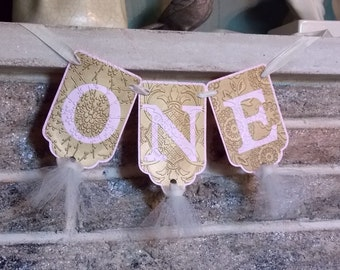 One Banner, Birthday Banner, Cream, Pink and Gold Banner, Girl's Birthday Banner, Embossed Banner with Tulle, Cake Smash Banner