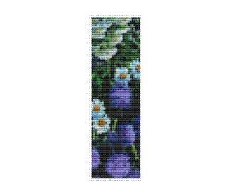 Floral Cross Stitch Chart, Bouquet of Purple Flowers Bookmark Cross Stitch Pattern PDF, Stitch a Bookmark, Boris Kustodiev