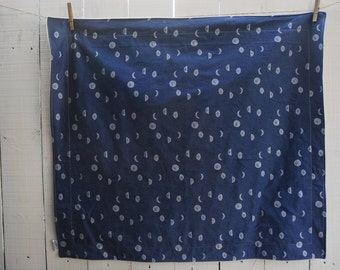 Organic Baby Blanket - Navy Moon Phases, Galaxy Decor