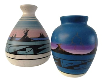 Navajo Pottery Vases, Pair