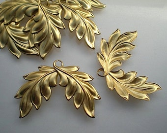 6 large brass double leaf charms