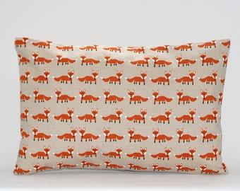 12 x18 inch small orange fox lumbar cushion cover, decorative pillow cover