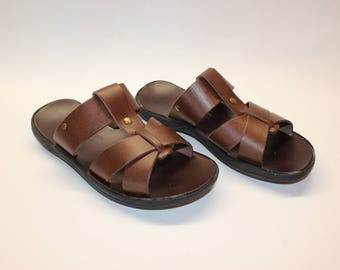 SALE SIZE 40! Leather sandals , leather slides, mens sandals 40