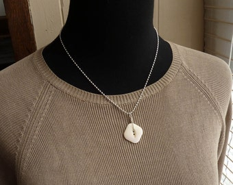 Vintage rounded square shell button pendant on Sterling Ball Chain