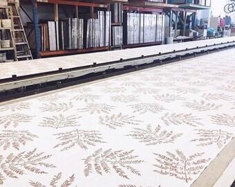 Hand printed linen fabric - Jacaranda