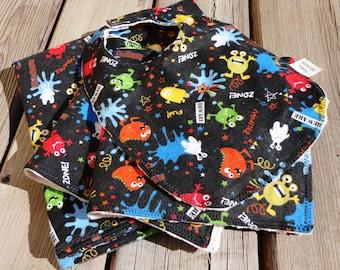 Baby Gift Set: Baby Blanket, Bib, Burp Cloth - Monsters