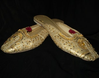Royal Slippers Gold, slip ons, comfotable flats,