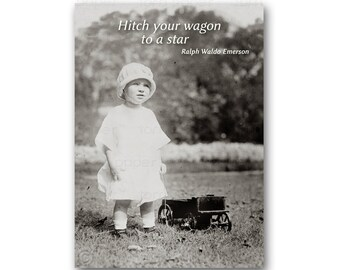 """GRADUATION CARD - """"Hitch your wagon to a star"""" - Available as a Greeting Card, Print or Quote Block - Graduation Gift (CPIC2013027)"""