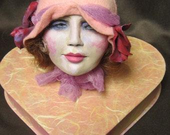Boudoir doll head / flapper head,  on heart shaped box