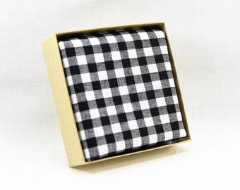 Black gingham pocket square for boys and men