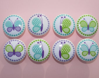 Girls Purple Green and Blue Dresser Drawer Knobs Set of 8