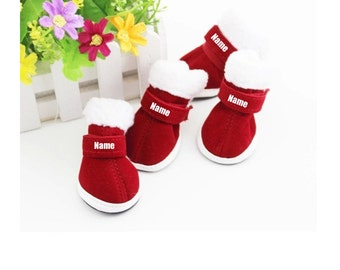 Custom Personalize Design Your Puppy Dog Christmas Shoes Booties Boots (pet Clothing)