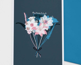 Blue Bouquet - greetings card