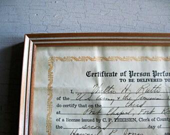 Vintage Certificate, Person Performing Marriage Ceremony, 1940s, Marriage Certificate, Wedding Certificate, Wedding Gift, Wedding Keepsake