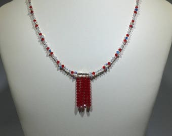 Fire Red Crystal Rain Necklace