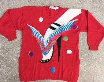 80s Vintage KANSAI YAMAMOTO high heels embroidery knit sweater
