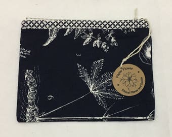 Floral ethically made cotton zipper purse