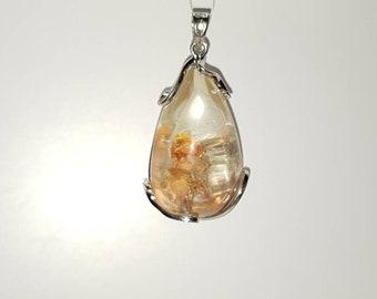 Natural white quartz pendant