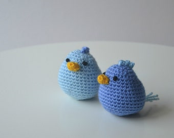 Amigurumi birdies. Handmade crochet soft chicken toy. Unique gift for a boy or girl baby shower. Birthday party favors.