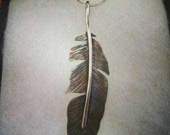 Sterling Silver American Eagle Feather Pendant