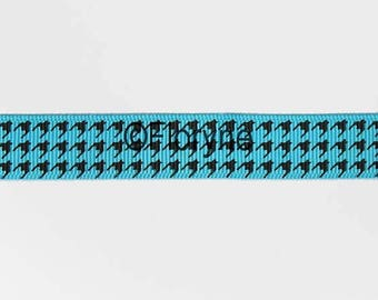Decorative ribbon with black on Turquoise background patterns