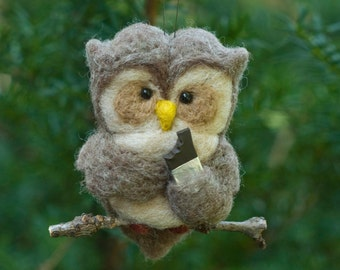 Needle Felted Owl- Eating Chocolate