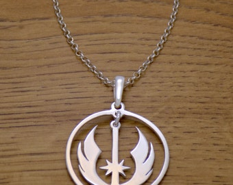 Amazing Solid 925 Sterling Silver Star Wars Alliance Galactic Empire Jedi Necklace with Chain Luke Skywalker Darth Vader Vintage Design