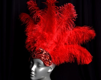 Red Carnival Feather Headdress Showgirl Halloween