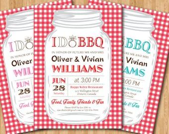 I do BBQ Wedding Invitation. Gingham. Couples Shower. Mason Jar. Pink, Blue, Purple, Red, any color. Printable Digital DIY.