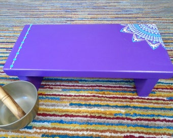 Purple wooden meditation bench - Decorated meditation stool - Painted prayer stool - Meditation gift - Kneeling stool - Low wooden stool