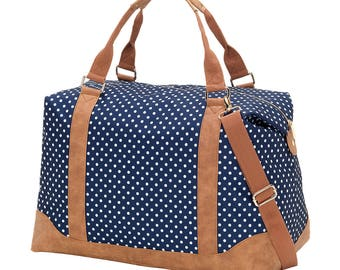Personalized Weekender Bag, Navy Dots Overnight Bag, Monogrammed Weekender Tote, Embroidered Travel Bag, Carry On Bag, Large Tote Bag
