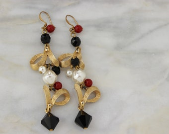 Vintage Gold Red Black Bead Drop Duster  Earrings Reconstructed Vintage Jewelry OOAK Upcycled