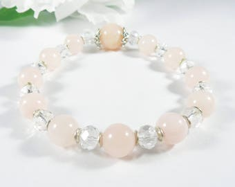 Pink Jade Bracelet with Silver Accents, Malaysian Jade Pink Bracelet with Czech Glass, Candy Jade & Glass Bracelet, Womens Elegant Bracelet