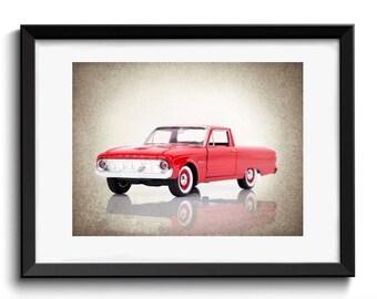 Ford Ranchero wall print, Ford ranchero pickup, car room decor, ford room decor, car poster, car prints, boys room decor, man cave print
