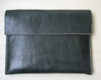green bag, hand stitched leather bag, hand made bag, leather clutch
