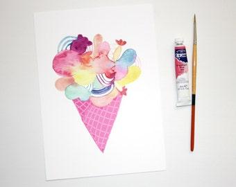 Ice Cream Print, Abstract Ice Cream Artwork, Colourful Wall Art, Ice Cream Cone