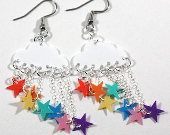 Raining Rainbow Earrings Cloud Earrings White Clouds Rainbow Star Showers Dangling Plastic Sequins