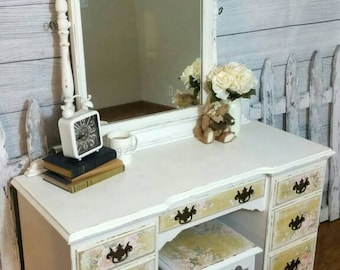 Refinished Vintage Vanity with bench
